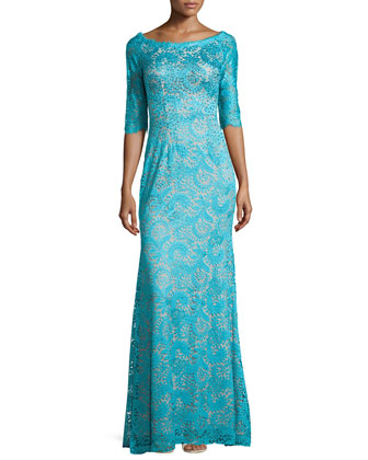 Half-Sleeve Lace Gown