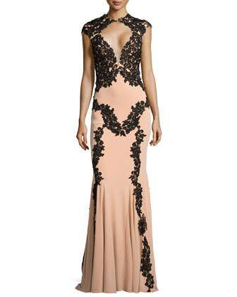 Illusion-Bust Lace-Trim Gown