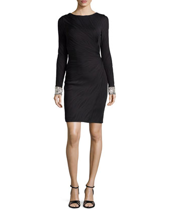 Textured Long-Sleeve Cocktail Dress with Beaded Cuffs