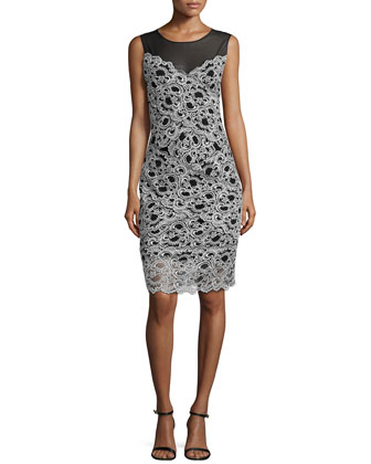 Amy Stretch Lace Dress, White/Black