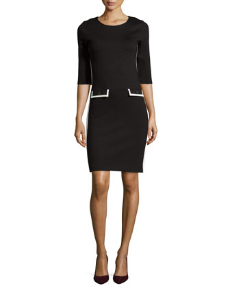 3/4-Sleeve Colorblock Dress W/ Detail Pockets