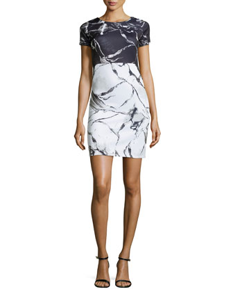Short-Sleeve Scuba Combo Dress