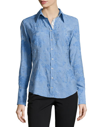 Long-Sleeve Embroidered Blouse, Periwinkle