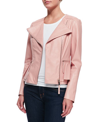 Leather Peplum Jacket, Light Pink