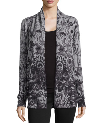 Ink Paisley Open Cashmere Cardigan