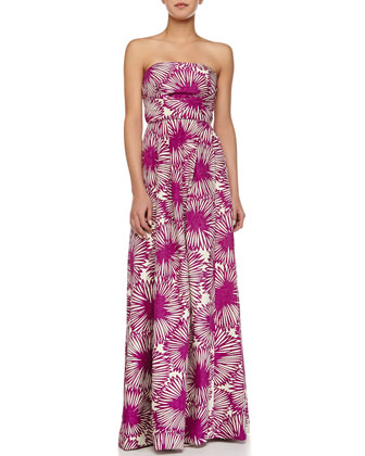Strapless Floral-Print Pleated Long Dress