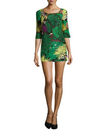 Printed 3/4-Sleeve Mini Dress