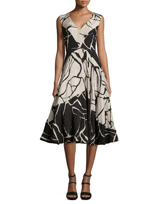 Abstract Printed Sleeveless Flared Dress