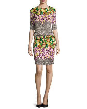 3/4-Sleeve Ruched Printed Dress