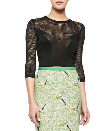 Fitted Loose-Knit Cropped Sweater & Pencil Skirt with Dragonfly Embellishment