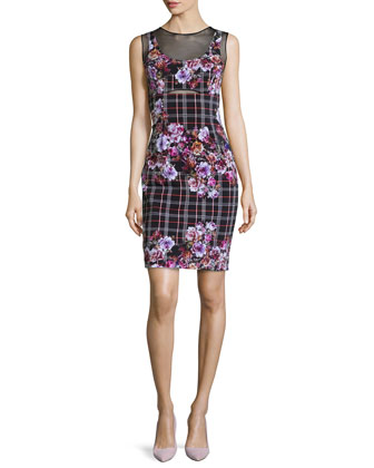 Sleeveless Mixed-Print Powernet Dress