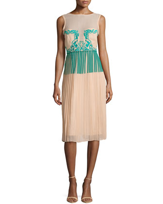 Jenna Paint and Lace Pleated Dress