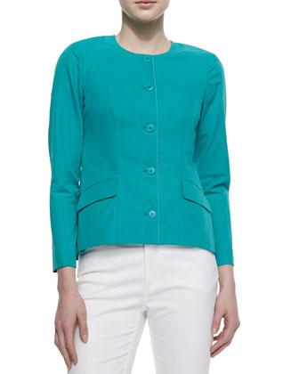 Reanna Collarless Button-Front Jacket, Aquamarine