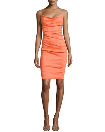 Sleeveless Cowl-Neck Sheath Dress, Clementine