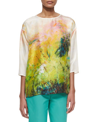 Keline 3/4-Sleeve Printed Silk Blouse, Pineapple