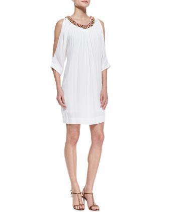 Bead-Neck Cold-Shoulder Dress