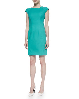 Savita Cap-Sleeve Sheath Dress, Aquarium