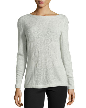 Scroll-Front Cashmere Top
