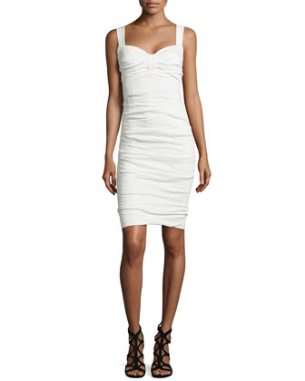 Sleeveless Sweetheart Crinkled Dress, White