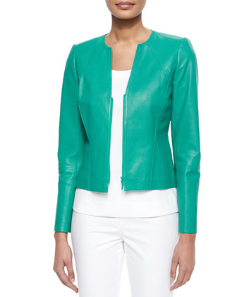 Abrina Textured Leather Jacket