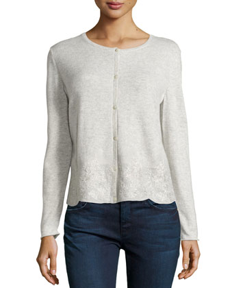 Embroidered Lace Cashmere Cardigan