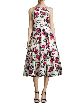 Floral Halter Tea-Length Dress