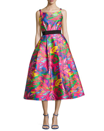 Sleeveless Tropical-Printed Full-Skirt Dress