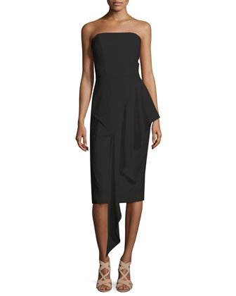 Strapless Cascading Ruffle Dress, Black
