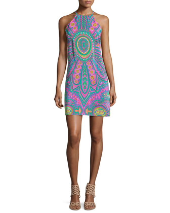 Riviera Printed Silk Halter Dress