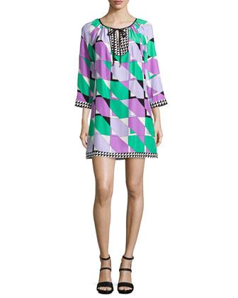 Cheryl Bracelet-Sleeve Mixed-Print Dress