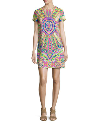 Jackie Medallion-Print Sheath Dress
