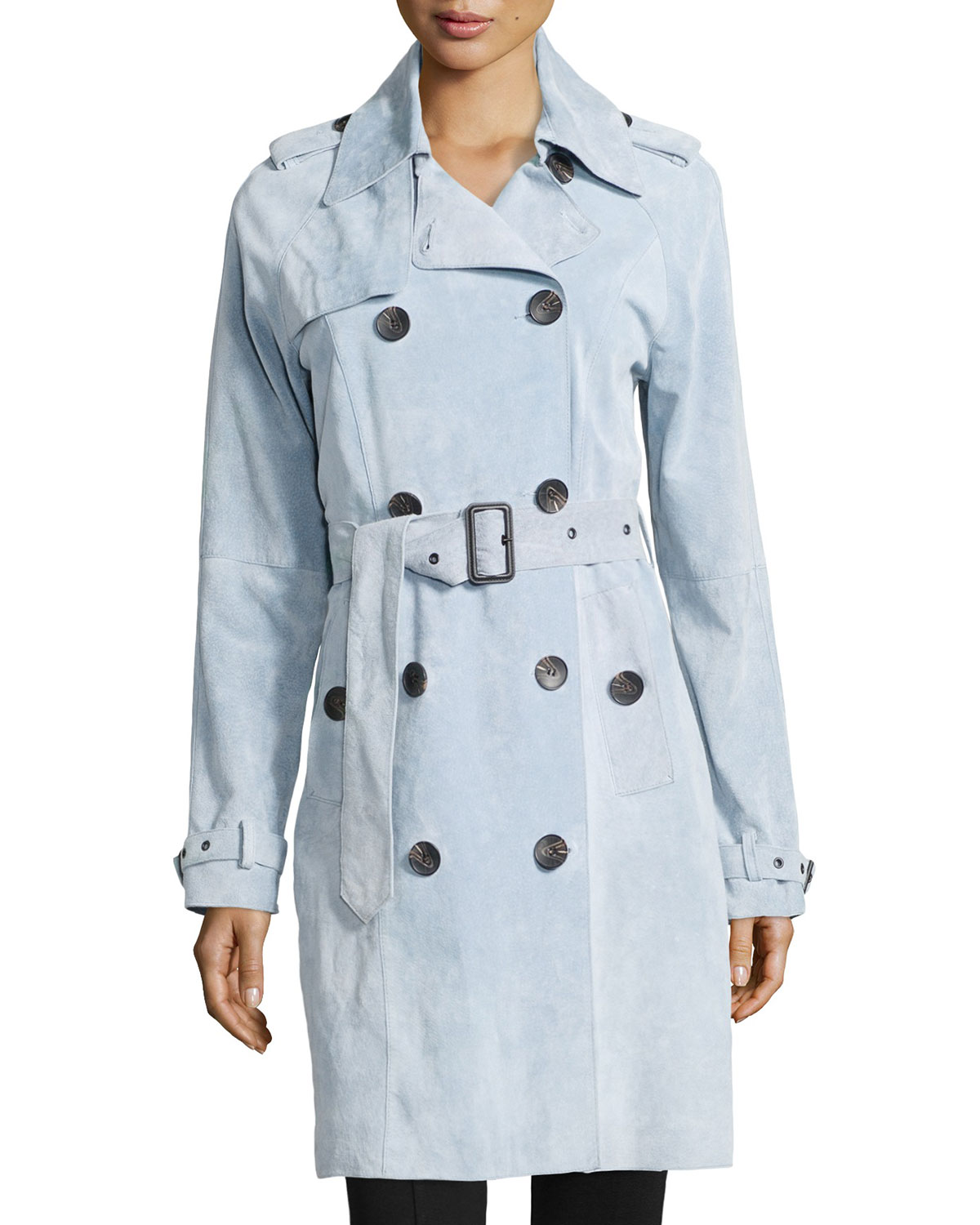 Suede Double-Breasted Trench Coat, Size: LARGE (12-14), LIGHT BLUE - Neiman Marcus