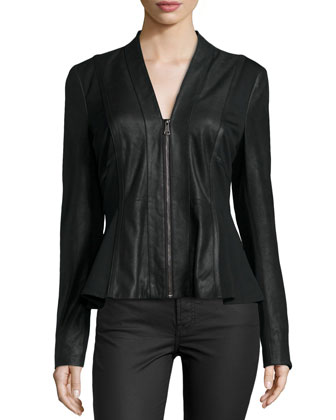 Lambskin Leather & Ponte Peplum Jacket