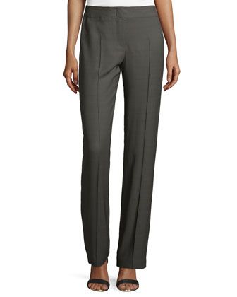 Straight-Leg Silk-Blend Pants, Granite