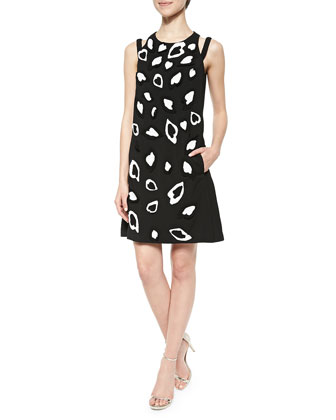 Heart Applique Woven Apron Dress, Black