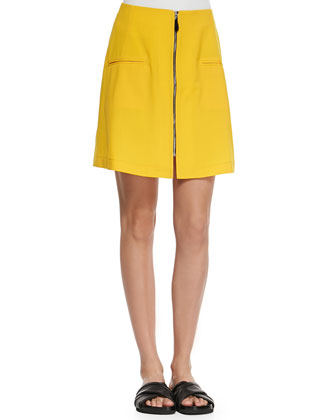 Liquid Wool Front-Zip Skirt