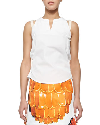 Apron-Style Sleeveless Poplin Top & Doppio Printed A-Line Skirt