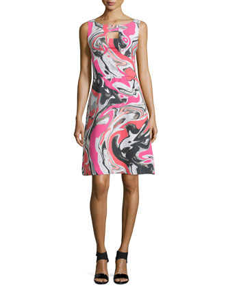 Sleeveless Paint-Print Fit & Flare Dress