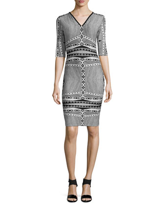 3/4-Sleeve Tribal-Print Body Conscious Dress