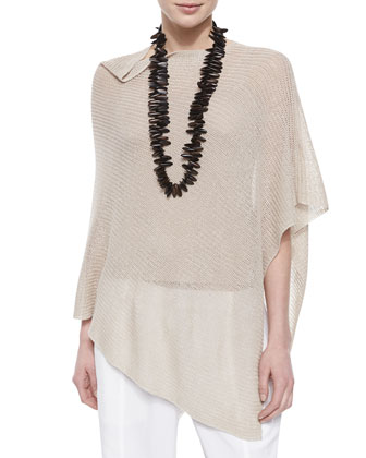 Linen Pointelle Poncho, Scoop-Neck Jersey Cami & Twill Button-Cuff Ankle Pants