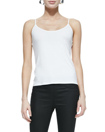 Linen Delave Mesh-Yoke Top, Scoop-Neck Jersey Cami, Twisted Rib ...