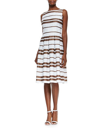 Zoe Sleeveless Striped Pleated Dress