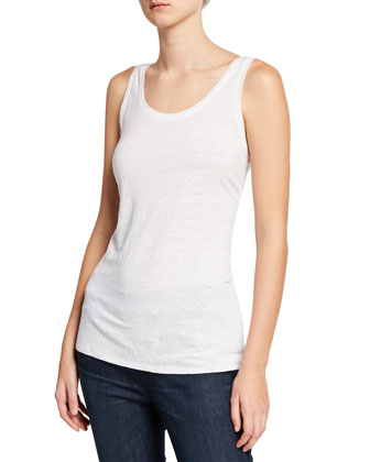 V-Neck Box Top, Linen Jersey Long Tank, Striped Gauze Scarf & Stretch ...