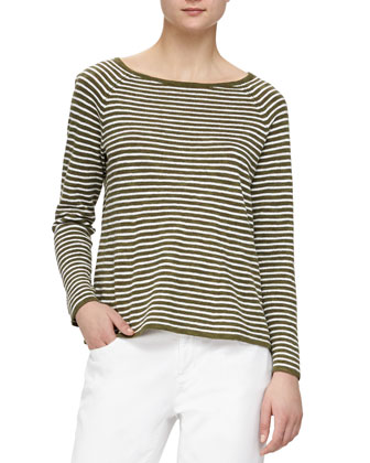 Striped Slub A-line Top & Stretch Boyfriend Jeans, Women's
