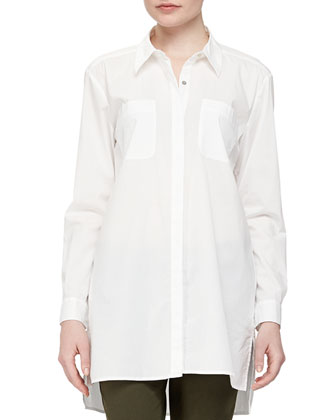 Long Long-Sleeve Shirt, White