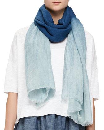 3/4-Sleeve Linen-Blend Knit Top, Slim Tank, Faded Indigo Linen Scarf & Hemp ...