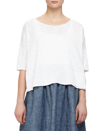 3/4-Sleeve Linen-Blend Knit Top