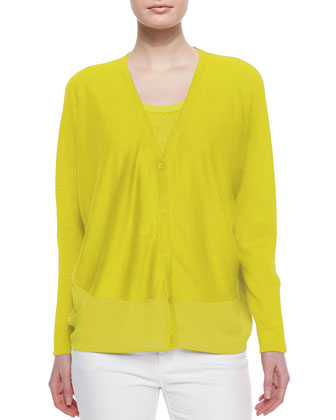 Linen Knit Cardigan, Citron