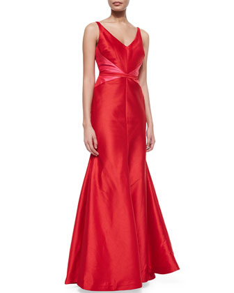 Sleeveless V-Neck Colorblock Mermaid Gown