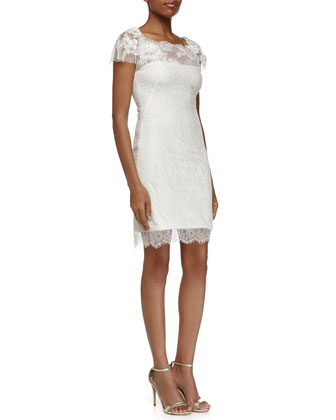 Short-Sleeve Metallic Lace Cocktail Dress